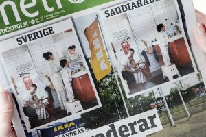 The Metro newspaper, featuring two versions of the same photo from Ikea's yearly catalog — the Swedish catalog, left, and the Saudi version, in Stockholm.